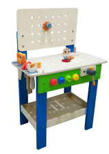 Kids Wooden Work Bench Engineering Tool Set Play Toy with 17pcs DIY