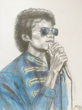 Michael Jackson  drawing painting  Thriller era RARE 1983