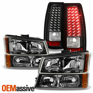 Compatible with 2004-2006 Silverado Fleetside Pickup Replacement 6 Pc Headlights Tail Lights /& Park Signal Lamps