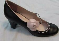 MADELINE womens sz 8 black leather pink flower accent round toe pumps heels