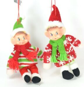 Elf Twins Fabric and Rubber Christmas Ornament Set of 2 NEW