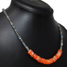 85.00 Cts Natural Faceted Labradorite & Carnelian Round Beads Necklace NK 06E67