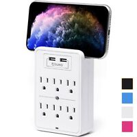 Aduro Surge Protector 6 Outlet Power Strip Station with 2 USB Wall Mount Charger