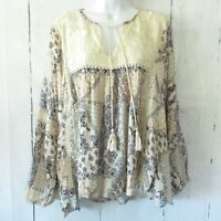 New Angie Peasant Top M Medium Ivory Floral Embroidered Crochet Lace Boho