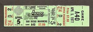 1977 Houston Aeros WHA Full Unused Ticket vs. San Diego Mariners