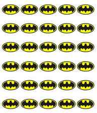 30x Batman Logo Cupcake Toppers Edible Wafer Paper Fairy Cake Toppers