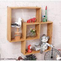 Solid Wood Intersecting Wall Shelf Vintage Pine Storage Display Shelves Decor