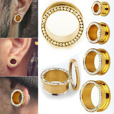 Pair Gold PVD Steel Flesh Tunnel Ear Plugs Screw-Fit Clear Crystal Studded Rim