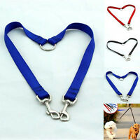 New Nylon Double Dual Two Pets Dogs Leash 1 Lead 2 Way Coupler Walk Necklace CIT