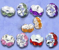 GB 100Pcs Mixed Silver Plated Rhinestone Crystal Rondelle Spacer Beads 8x4mm