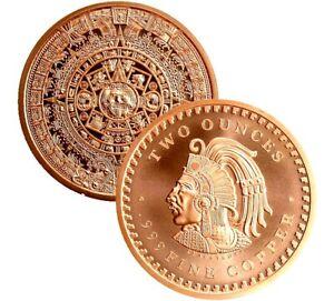 Beautiful 2 Ounce Copper Round | Aztec Calendar 2 OZ Coin |.999 Bullion | Mint