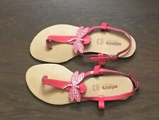 Adam's Shoes Ladies Pink Flat Butterfly Ankle Strap Sandals UK Size 38