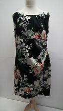 Wallis Black Cotton  Floral Dress  size14