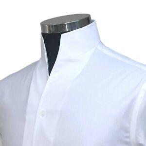 Men's Open High Collar Tall Neck No Buttons White Dress Shirt 100% Cotton Band