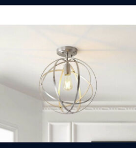 """JYL9514B Alma Metal LED Flush Mount Contemporary Dimmable, 2700K 13"""" Nickel"""