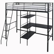 High Sleeper Cabin Bed with Desk Shelves 3FT Bunk Bed Metal Frame Kids Children
