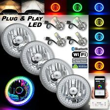 "5-3/4"" RGB SMD Color-Chasing Angel Eye Halo Headlight 18/24W LED Lamp Bulb Set"