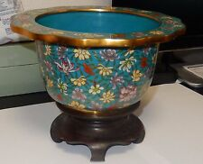 Large Vintage Cloisonne Enamel Pot With Wooden Stand