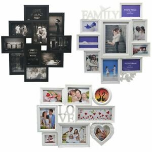 Modern Family Love 10 Multi Photo Picture Frame Holds 6''X4'' Photos Black White