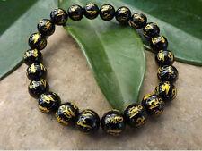 Tibetan 19 10mm Black Agate Gold Plating OM Mani Padme Hum Beaded Bracelet