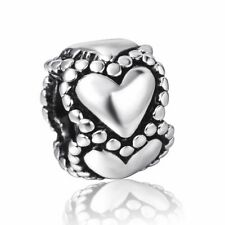 Silver Charms Bead Stopper fit European Bracelet hallmarked Hug Hearts PSB330