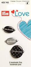 Prym Label Set Schild handmade grau schwarz 3 Stück Applikation 403743 Etikett