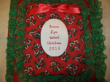 CHRISTMAS Candy Cane / Holly Personalized Fabric Photo Album Scrapbook HANDMADE