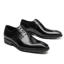 British Men Real Leather Suits Business Shoes Oxfords Suqare Toe Lace up Party L