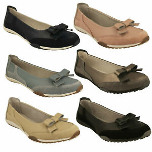 F8R0479 LADIES DOWN TO EARTH BALLET PUMPS SLIP ON BOW LEATHER CASUAL FLAT SHOES