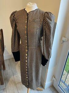 VINTAGE 80's BEIGE & BLACK HOUNDSTOOTH NEW WAVE SECRETARY TEA DRESS UK 10 SMALL