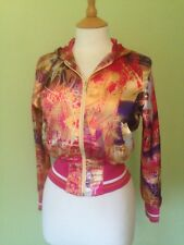 Pink gold multi hiphop bling funky disco urban vibrant satin hooded jacket xs