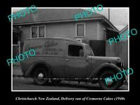 OLD POSTCARD SIZE PHOTO OF CERMORNE CAKES VAN CHRISTCHURCH NEW ZEALAND c1940s