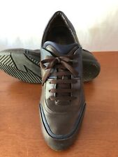 Pre Owned Salvatore Ferragamo Brown and Blue Leather Sneakers 9.5EE