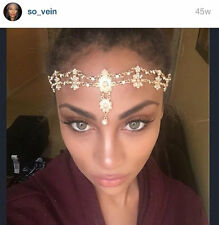 Gold Pearls game of Thrown Wedding Headdress Headband Headpiece head chain