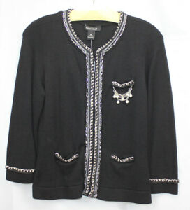 White House Black Market Cardigan Sweater Embellished Chains Rope Pearl Black M