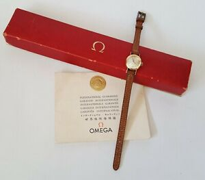 Ladies Vintage 1965 .750 18ct Gold Omega Ladymatic Wrist Watch + Box & Papers