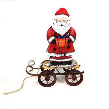 Santa on Wagon with Present Tea Light Holder Retro Vintage