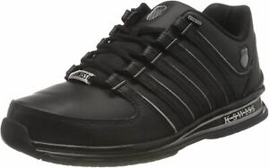 K. Swiss Rinzler Black Silver Mens Leather Trainers