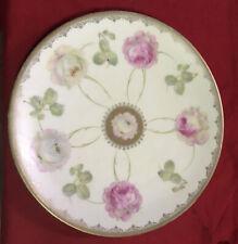 Antique PM Bavaria Plate Pinwheel Pink Roses