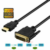 New HDMI to DVI-D 24+1 Pin Monitor Display Adapter Cable Male/Male HD HDTV 5 FT