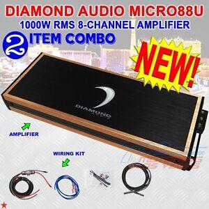 DIAMOND AUDIO® MICRO88U 1000W RMS 8-CHANNEL DIGITAL CLASS-D AMP + WIRING KIT NEW