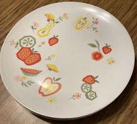 4 Vintage Boontonware Melamine Melmac Somerset Fruit Pattern Dinner Plates #6103