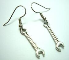 Rockabilly Pinup Girl Silver Mechanic Wrench Tool Euro Wire Dangle Earrings