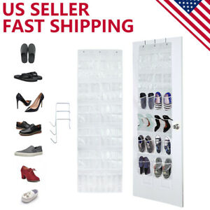Over The Door Shoe Organizer 24 Pockets Clear Hanging Storage Holder with Hooks