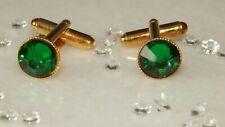 G/P Cufflinks & 10mm Emerald Green Resin Stones.Wedding.Ladies.Mens.Accessories