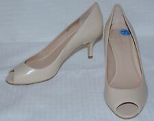 NWOB Tahari Jayne Nude Open Toe Leather 2 1/2 Inch Heel Pumps Sz 7 1/2 NEW