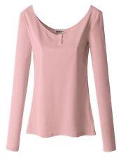 Doublju Women Casual Button Detail Long Sleeve T-Shirt INDIPINK,L