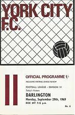 Football Programme - York City v Darlington - Div 4 - 29/9/1969