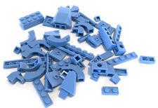 LEGO Medium Blue Bricks Mixed Bulk Lot 54 Pieces GOOD VARIETY Parts Plates Tiles