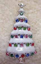 VINTAGE STYLE VICTORIAN CHRISTMAS TREE AUSTRIAN CRYSTAL SILVERTONE BROOCH PIN